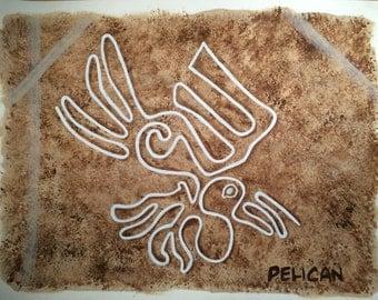 Nazca Lines Painting, Ancient Symbol of Pelican Pre Colombian Art;  South American Art, Desert Geoglyph Petroglyph  GeoArtifact, Ancient Art
