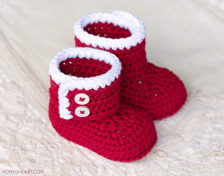Crochet Pattern Santa Claus Baby Booties By