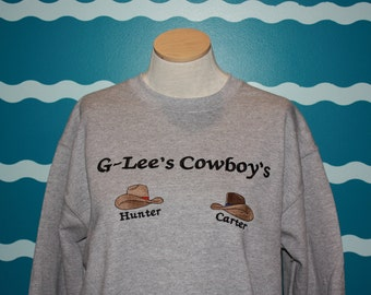 Grandparent sweatshirt - custom embroidered cowboy and cow girl sweatshirt - embroidered grandma sweatshirt - grandparent gift