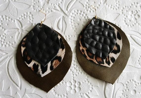 Jungle Gator - Layered leather earrings - Leaf layered earrings