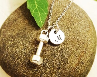 "BARBELL NECKLACE - weights necklace w initial charm - choice of chains - Read ""item details"" - one flat rate shipping in my shop :)"