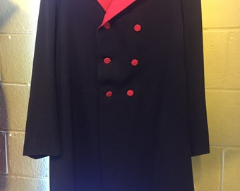 Edwardian Frock coat, black and red, circus, steampunk