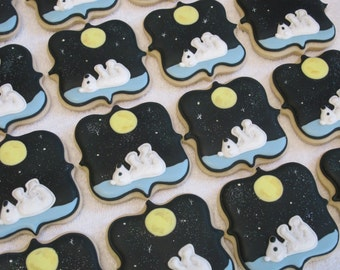 On the Night You Were Born Baby Shower Cookie Favors, Polar Bear Birthday Party Favors, Storybook Theme, Childrens Book Custom Cookies