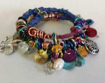 Boho, gypsy, charm, bracelet, recycled, reclaimed, repurposed, charms, adjustable bracelet, jewelry