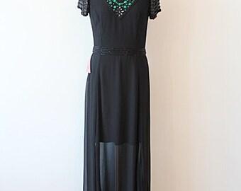 vintage dress, party dress, black dress,see-through dress