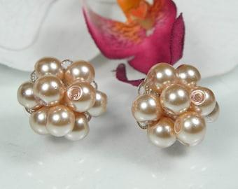 Peach Pearl Cluster Earrings, bridesmaid stud earrings, peach wedding, cluster earrings, PEACH KAREN Cluster post earrings