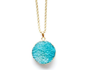 Druzy necklace | Light blue
