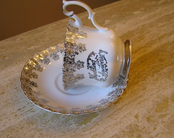 """Re-Purposed, Hanging  Bird Feeder made with  Cup and Saucer. Royal Albert """"25th Anniversary"""""""