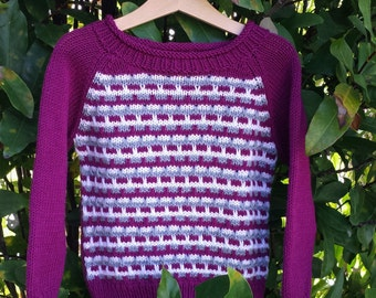 Hand Knitted Girl's Jaccard Raglan Sweater/Pullover size 3-4 years