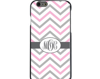 Hard Snap-On Case for Apple 5 5S SE 6 6S 7 Plus - CUSTOM Monogram - Any Colors - Pink White Grey Chevron Stripes