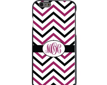 Hard Snap-On Case for Apple 5 5S SE 6 6S 7 Plus - CUSTOM Monogram - Any Colors - Black Fuchsia White Chevron Stripes