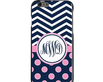 Hard Snap-On Case for Apple 5 5S SE 6 6S 7 Plus - CUSTOM Monogram - Any Colors - Navy Pink Polka Dots Chevron