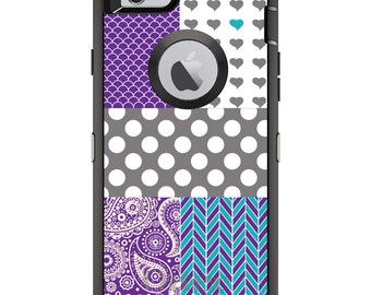 Custom OtterBox Defender Case for Apple iPhone 6 6S 7 8 PLUS X 10 - Personalized Monogram - Purple Teal Grey Patterns