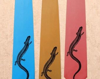 Salamander - Lizard Amphibian - Screen Printed Mens Necktie