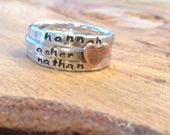 Personalized hand stamped skinny stacking ring set with copper heart customized childrens names grandchildren