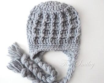 Earflap Boy Hat, Girl Earflap Hat, Gray Earflap Hat, Gray Newborn Hat, Chunky Earflap Hat, Baby Hats Boy, Coming Home Outfit, Hospital Hats