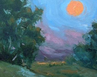 original small oil painting, impressionist, tuscany, sunset, Italy, clouds, sky, Sessa