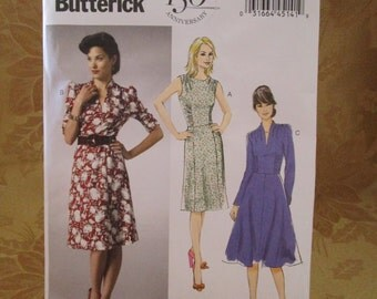 Butterick Retro Pattern 5951 Women's 1940s Dresses (8-16)