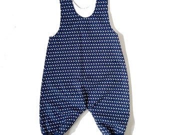 Boys and Girls Navy Dungarees with flamingo motif. Custom Children's Clothing Cloth Nappy Friendly