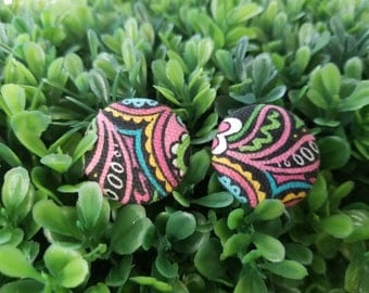 Rocking Paisley- Small Handmade Fabric Button Earrings