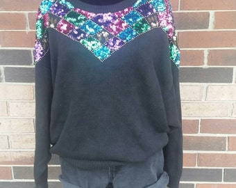 Colorful Sequin Sweater- Plus Size