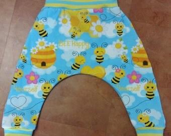 Bee Happy harem pants, 6-12m