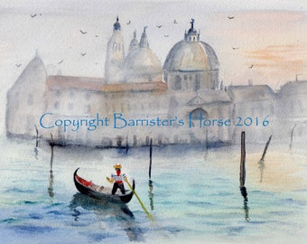 Venice Dawn, fine art, Giclee Watercolour Painting Print A4. Archival quality inks