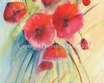 Poppies 2, fine art, Giclee Watercolour Painting Print A4. Archival quality inks