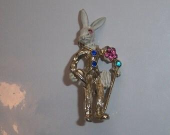 Gentleman Rabbit Brooch. Bunny Pin.  Figural Jewelry.