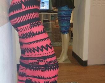 Pink high waist Aztec print midi skirt