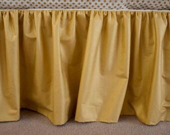 Classic Metallic Gold Gathered Crib Cot Skirt