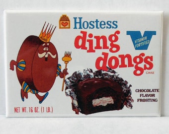 "Hostess Ding Dongs Snack Foods 2"" x 3"" Fridge MAGNET art Vintage"