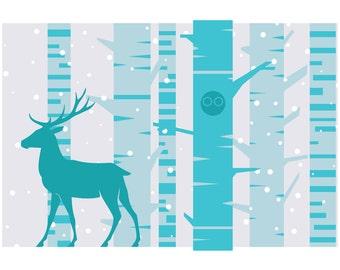 Deer in the Woods Christmas Card