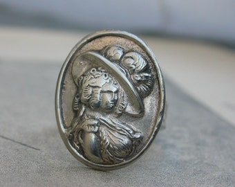 antique sterling silver ring woman portrait 18th century woman feather hat hummered solid silver ring adjustable one of a kind