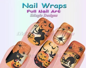 Halloween Nail Wraps, Waterslide Full Nail Decals, Stickers, Halloween