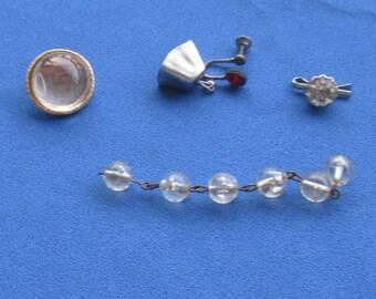 Lot Of Retro Single Odd Earrings Odd Rhinestone Cuff Link Necklace Extender