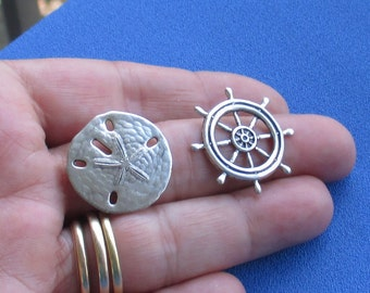 Retro Sand Dollar Nautical Wheel Pendants Embellishments