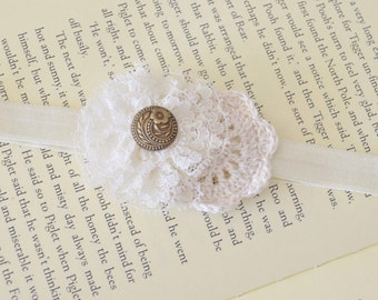 Free Shipping! Large Vintage Inspired Lace Flower and Crochet Headband on Stretch Elastic