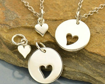 Sterling Silver Mother Daughter Disk with Cutout Heart Set