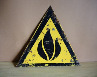 Genuine USSR era 1970s METAL caution Warning sign / Flammable possibility metal sign / soviet warning sign / Russian safety sign /