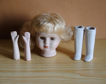 Vintage Porcelain Doll Parts - Complete Set Head Arms and Feet - Doll art supply - Porcelain Doll Arms and Legs Head - Doll Making - A2