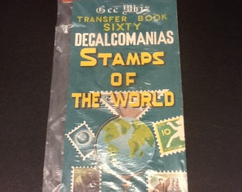 1960's stamps of the world decals/ transfer book