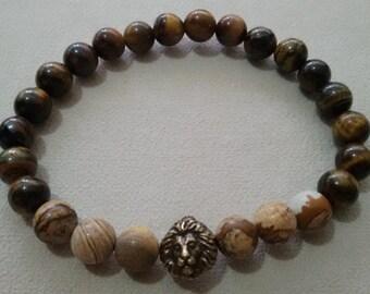 0.8mm Jasper and Tiger Eye Stone Handmade Stretchable Bracelet OM031