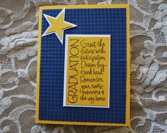 Handmade Greeting Card: Graduation card, Michigan Graduation, maize and blue