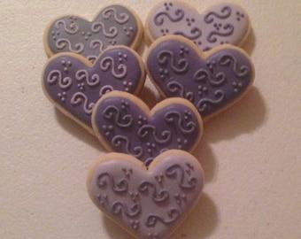 2 dozen Fancy Mini Heart Sugar Cookies