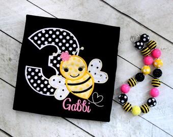 bee birthday shirt bumblebee birthday shirt yellow pink black applique shirt bee applique top bee embroidery bumblebee bumble bee shirt bee