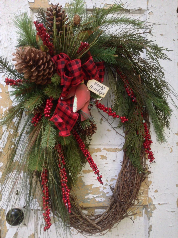 large christmas wreath rustic winter wreath primitive. Black Bedroom Furniture Sets. Home Design Ideas