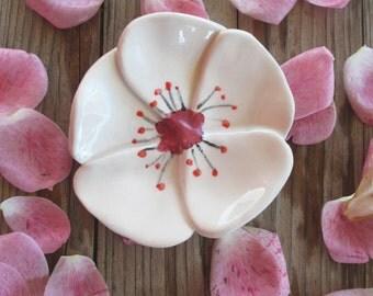 Cherry Blossom Flower,Ring Dish,Keepsake Bowl,Tea Bag Holder,Trinket Bowl,Ceramic,Girly Birthday gift,Party Favor,Cute Gift,Gift for her