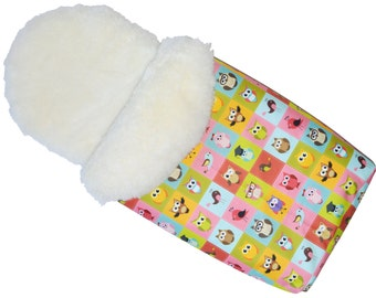Sheepskin Footmuff - Colorful Owls