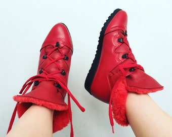 Shearling Leather Boots | 7 US / 37.5 Eur / 5 UK | La Canadienne | Made in Canada | Vintage | Red | Ankle | Winter | Snow | Ski | Womens